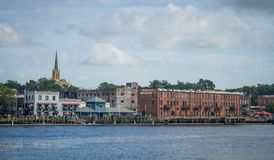 Wilmington, NC, Riverfront. A view of historic downtown Wilmington, NC, from Battleship Park, across the Cape Fear River Stock Image