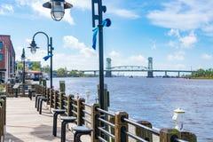 Wilmington norr Carolina Riverwalk royaltyfri fotografi