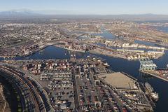 Wilmington and the Port of Los Angeles. Los Angeles, California, USA - August 16, 2016:  Aerial view of Wilmington and the Port of Los Angeles in Southern Royalty Free Stock Photo