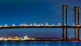 Wilmington-Skyline gestaltet durch Delaware-Denkmal-Brücke Lizenzfreie Stockfotos