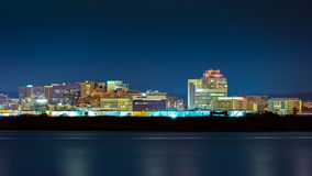 Wilmington skyline by night. Viewed from New Jersey, across the Delaware River. Wilmington is the largest city in the state of Delaware Stock Image