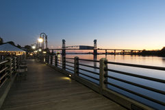 Wilmington Waterfront. Sunset over Wilmington waterfront in North Carolina, USA royalty free stock photos
