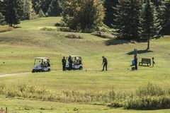 Wilno Καναδάς 09 του ΟΝΤΑΡΙΟ 09 2017 φορείς γκολφ παικτών γκολφ που παίζουν στα πράσινα gras σε ένα υπαίθριο γράμμα Τ σειράς μαθη Στοκ Εικόνες