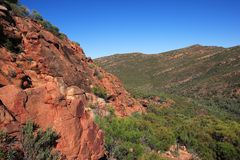 Wilpena Pound. Scenic landscape of Wilpena Pound with blue sky background, Southern Australia Royalty Free Stock Photo
