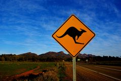 Wilpena Pound Kangaroo Sign Stock Photo