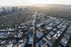 Wilshire Blvd Beverly Hills California Aerial fotografering för bildbyråer