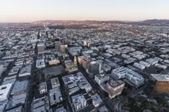 Wilshire Blvd Morning Aerial Los Angeles. Early morning aerial view down Wilshire Blvd in the Koreatown area of Los Angeles California Stock Photos