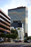 Wilshire Boulevard Los Angeles. Los Angeles, United States - December 27, 2015: The World Savings skyscraper, office buildings and shopping centers on the Stock Image