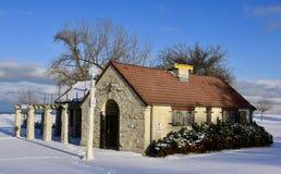 Wilson Avenue Beach House dans la neige photographie stock libre de droits