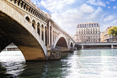 Wilson bridge over the Rhone river Stock Photos