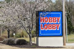 Hobby Lobby sign. WILSON, NC - March 28, 2018: The Hobby Lobby sign to the parking lot entrance to the location in Wilson, NC stock photos