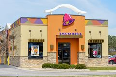 Taco Bell entrance. Wilson, NC / March 29, 2018: Taco Bell location is open for business in Wilson, North Carolina Royalty Free Stock Photography