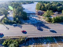 Aerial view of Hurricane Matthew Flooding. WILSON, NC - OCTOBER 09: An aerial view of flooding from Hurricane Matthew on October 9, 2016 in Wilson, NC. Matthew royalty free stock photography