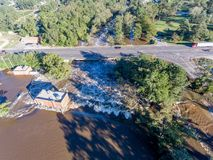 Aerial view of Hurricane Matthew Flooding. WILSON, NC - OCTOBER 09: An aerial view of flooding from Hurricane Matthew on October 9, 2016 in Wilson, NC. Matthew royalty free stock images