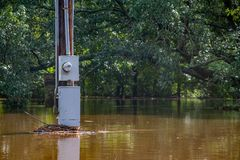 Hurricane Florence brings flood waters. Wilson, NC - September 17, 2018: Water rises from heavy rains after Hurricane Florence in Wilson, NC stock images