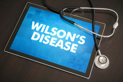 Wilson's disease (liver disease) diagnosis medical concept. On tablet screen with stethoscope stock photos