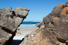 Wilsons Promontory Squeaky Beach Tidal Creek split rock view Royalty Free Stock Image