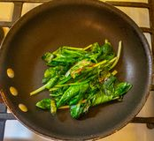 Wilted Spinach on a pan. On a burner of a stove range royalty free stock images