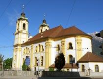 Wilten Abbey Basilica debajo del cielo azul vivo Fotos de archivo libres de regalías