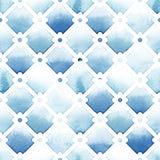 Wilton-Gittergitter mit quatrefoil von blauen Farben auf weißem Hintergrund Nahtloses Muster des Aquarells Stockbilder