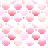 Wilton-Gittermuster mit quatrefoil von rosa Farben auf weißem Hintergrund Nahtloses Muster des Aquarells Lizenzfreies Stockfoto