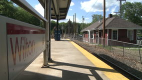 Wilton train station. A view or scene of Transportion stock video footage