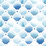 Wilton trellis lattice with quatrefoil of blue colors on white background. Watercolor seamless pattern Stock Images