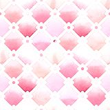 Wilton trellis pattern with quatrefoil of pink colors on white background. Watercolor seamless pattern stock illustration