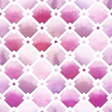 Wilton trellis pattern with quatrefoil of purple colors on white background. Watercolor seamless pattern Stock Image