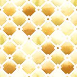 Wilton trellis pattern with quatrefoil of yellow colors on white background. Watercolor seamless pattern. Spicy Mustard Stock Image