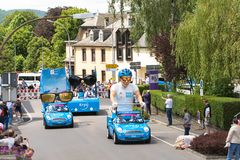 Procession of Tour de France 2017 passing through Wiltx, Luxembourg royalty free stock image