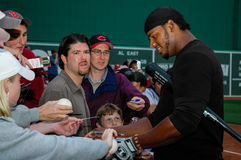 Wily Mo Pena signs autographs. Cincinnati Reds OF Wily Mo Pena signs autographs for fans at Fenway Park, Boston, MA. (Image taken from color slide Stock Photos