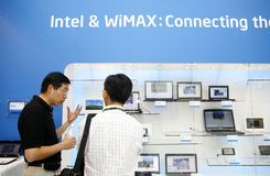 Wimax equipment. 2009 Computex Taipei held from June 2 to 6 in Taipei. Intel exhibited products contained wimax technology Stock Photos