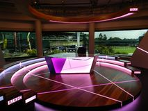 BBC studio set. All England Lawn Tennis and Croquet Club. Wimbledon, United Kingdom. Wimbledon, All England Lawn Tennis and Croquet Club. UK. BBC studio set royalty free stock image