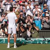 Novac Djokovic, Serbian player, wins Wimbledon. In the photo he holds the trophy on centre court in front of press photographers. Wimbledon Lawn Tennis stock image