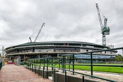 Wimbledon Lawn Tennis championships Number 1 court roof being installed. Showing cranes and building materials royalty free stock photos