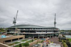 Wimbledon Lawn Tennis championships Number 1 court roof being installed. Showing cranes and work ongoing stock images