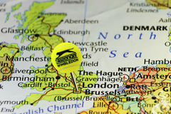 2016. Wimbledon official tennis ball as pin on map of United Kingdom, pinned on London Stock Photography
