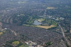 Wimbledon, South London - aerial view. Aerial view of the South London district of Wimbledon. In the centre of the image is the lake of Wimbledon Park, just royalty free stock image