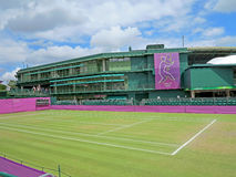 Wimbledon Tennis Court. WIMBLEDON, ENGLAND - August 2nd, 2012 � One of the tennis courts at Wimbledon during the summer Olympics in London in 2012 Stock Photo