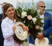 Wimbledon winner Simona Halep - arrival in Romania stock photo