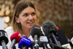 Wimbledon winner Simona Halep - arrival in Romania royalty free stock photos
