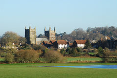 Wimborne Minster Church. Minster Church in Wimborne with flooded meadows Royalty Free Stock Images