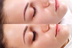 Wimper-Erweiterung Vergleich von weiblichen Augen vorher und nachher stockbild