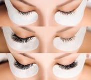 Wimper-Erweiterung Vergleich von weiblichen Augen vorher und nachher lizenzfreie stockfotografie