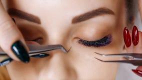 Wimper-Erweiterungs-Verfahren Frauen-Auge mit den langen blauen Wimpern Ombre-Effekt Schlie?en Sie oben, selektiver Fokus lizenzfreie stockfotos