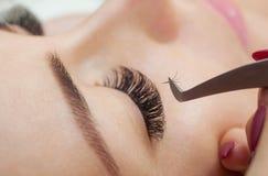 Wimperabbauverfahrensabschluß oben Schönheit mit langen Peitschen in einem Schönheitssalon lizenzfreie stockfotos