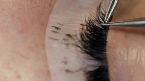 Wimperuitbreiding op het vrouwelijke oog stock videobeelden