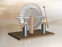 Wimshurst machine with two Leyden jars. 3D illustration of electrostatic generator. Physics. Science classrooms experiment. Demonstration of a scientific Royalty Free Stock Images