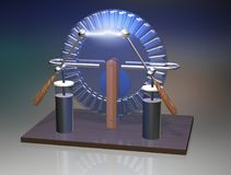 Wimshurst machine with two Leyden jars. 3D illustration of electrostatic generator. Physics. Science classrooms experiment. Demonstration of a scientific Royalty Free Stock Photos